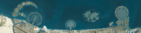 Satellietfoto van de palmeilanden en The World in Dubai